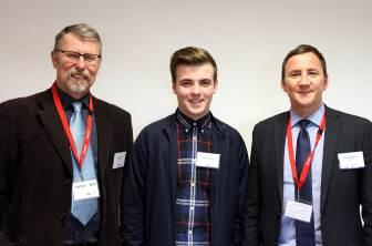 Joinery Scholarship for Scott who is pictured with Mike Guild and Derek Petterson of Meldrum Construction.