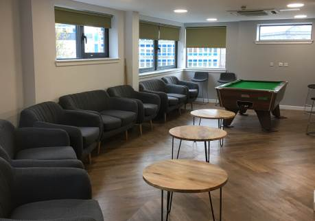 Refurbishment of Student Common Room, with seating and a pool table