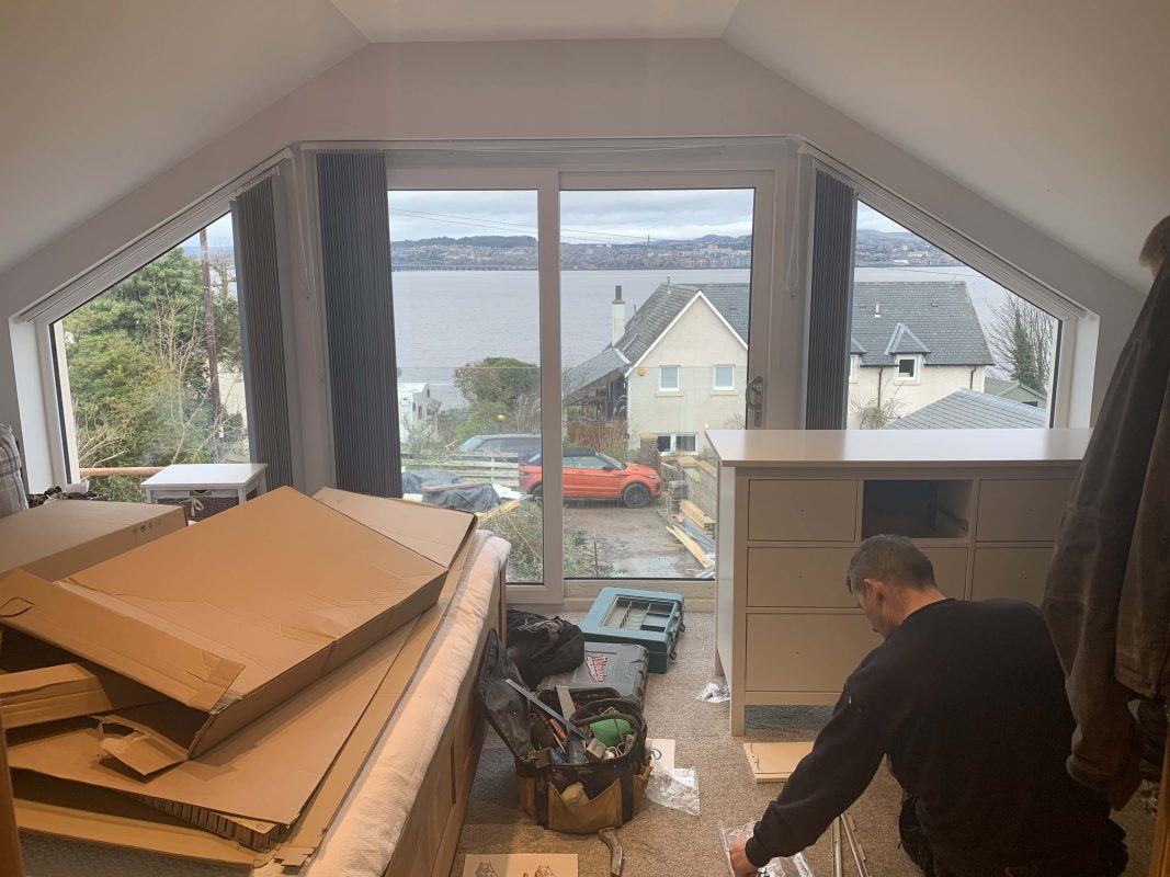Bedroom view from house extension by Meldrum Construction