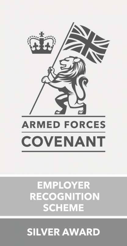 Silver Armed Forces Covenant Employer Recognition Scheme Silver Award Log